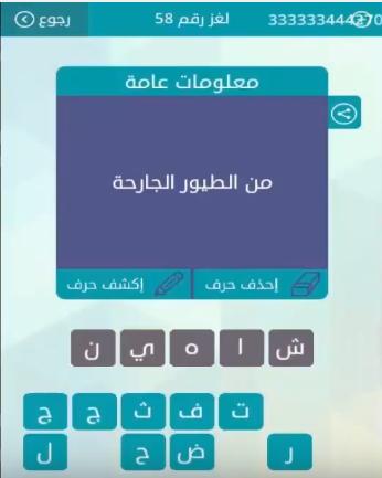 حل لغز من لطيور الجارحة من لعبة وصلة لغز رقم 58 المجموعة