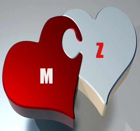صور حرف M و Z مع بعض بطاقات متميزة لحرف M و Z رمزيات قلوب