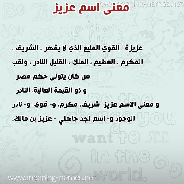 صور اسم عزيز 2021 اغلفة فيس بوك باسم عزيز زخرفة جميلة لاسم عزيز صقور الإبدآع